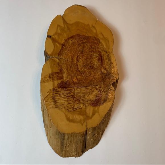 Vintage Wood Bear hand-carved wall art Colorado